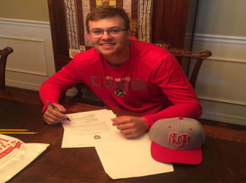 high school baseball player receiving letter from college scouts